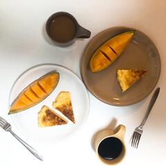 ZEROJAPAN カフェマグ スモール CFZ-01 BA・バナナ   ZERO JAPAN(皿)を使ったクチコミ「朝ごはんの記録  甘々なもの笑 メロンと…」
