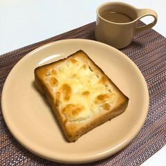 ZERO JAPAN カフェプレートL CFZ-08 CAL・カフェオレ | ZERO JAPAN(皿)を使ったクチコミ「朝ごはんの記録  🍞グラタントースト  …」