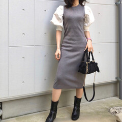 パフスリーブ/春ニット/ootd/ワンピース/outletshoes/birthdaybash/... Dress #birthdaybash …