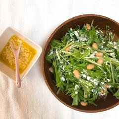 キッコーマン 豆乳おからパウダー(その他インテリア雑貨、小物)を使ったクチコミ「大豆サラダ🥗  水菜+大豆+おからパウダ…」