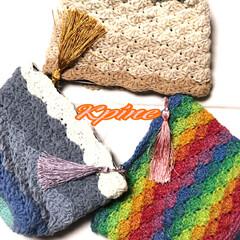 手編み/かぎ針編み認定講師/かぎ針編み/手作り/イベント/イベント出店/... 松編みのポーチ(❁´ω`❁) かわいくで…
