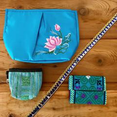 ポーチ/カラフル/雑貨/笑福Lotus/暮らし ブルーの雑貨*  好きな色があるって素敵…