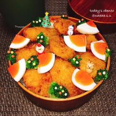 カレー弁当/カツカレー/曲げわっぱ弁当/わっぱ弁当/クリスマス弁当/旦那さん弁当/... カツカレー弁当\︎︎❤︎/ クリスマス風…