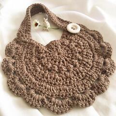 100均毛糸/ベビーグッズ/ベビー用品/赤ちゃん用品/赤ちゃんグッズ/ナチュラルスタイ/... かぎ針編みでスタイを作ってみました\♡…