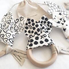 マスク/ベビーグッズ/ベビー用品/出産祝い/赤ちゃんグッズ/モノトーンナチュラル/... 赤ちゃんの歯固めリング作るのが楽しい〜❁…