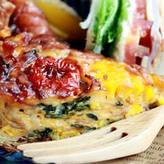 隠し味/マヨネーズ/トマト/トウモロコシ/料理好き/家庭料理/... 夏野菜たっぷりキッシュ♡♡ いつものほう…(2枚目)