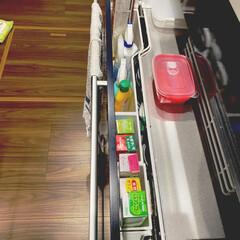 ラップホルダー/収納/ラップ収納/ラップ/キッチン収納/簡単/... ♡我が家のラップ収納♡  用途によってサ…