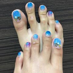 プリジェル カラーEX 1〜20(ジェル)を使ったクチコミ「♡フットネイル♡  海っぽいドロップアー…」
