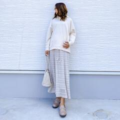 ロングスカート/あやらーコーデ/あやらー/しまむら購入品/しまむらパトロール/しまむらコーデ/... 今日の1枚♡透かし編みニットスカート♡ …