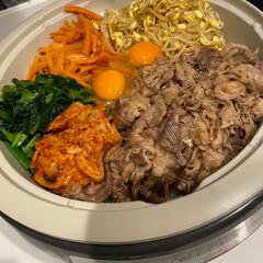 ユウキ食品/四川豆板醤 130g(その他調味料、料理の素、油)を使ったクチコミ「♡いつかの晩ご飯♡  おうちで簡単ビビン…」