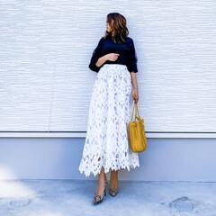 きれいめファッション/きれいめコーデ/しまむらパトロール/ホワイトスカート/fifth/MUMUコラボ/... 今日の1枚♡ロングレーススカート♡  s…