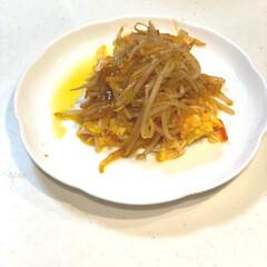 ハインツ トマトケチャップ逆さボトル460g ハインツ日本(その他キッチン、日用品、文具)を使ったクチコミ「♡今日の副菜♡  かに玉のもやしあんかけ…」
