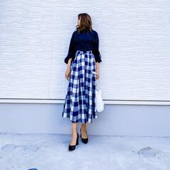 MUMUコラボ/オフィスコーデ/きれいめファッション/きれいめコーデ/myu/ブロックチェック/... 今日の1枚♡ブロックチェックスカート♡ …