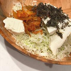 かどや製油 金印 純正ごま油 600g PET(ごま油)を使ったクチコミ「♡今日の晩ご飯♡  キムチ×豆腐のがっつ…」