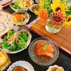 夏ご飯/テーブルコーディネート/テーブルフォト/うつわと盛り付け/器好き/酒のあて/... *晩御飯  白だしで ジュレを作って  …(5枚目)