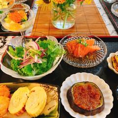 夏ご飯/テーブルコーディネート/テーブルフォト/うつわと盛り付け/器好き/酒のあて/... *晩御飯  白だしで ジュレを作って  …(4枚目)