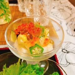 夏ご飯/テーブルコーディネート/テーブルフォト/うつわと盛り付け/器好き/酒のあて/... *晩御飯  白だしで ジュレを作って  …(2枚目)