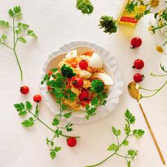 私の美味しい写真/コストコ/常備菜/おうちごはん/ポテトサラダ/とりあえず野菜食/...  ポテトサラダをお花のお皿に盛り付けて …