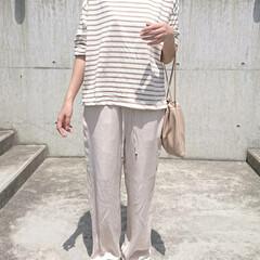 長身コーデ/主婦/アラフォーコーデ/アラフォーファッション/アラフォーママ/30代ファッション/... この日のコーデは、ボーダー柄ロングTシャ…(3枚目)