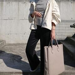 30代コーデ/30代ファッション/アラフォーママ/アラフォーコーデ/アラフォーファッション/ママコーデ/... 春は、ボーダー柄とマウンテンパーカが着た…