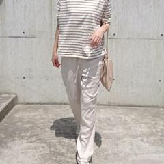 長身コーデ/主婦/アラフォーコーデ/アラフォーファッション/アラフォーママ/30代ファッション/... この日のコーデは、ボーダー柄ロングTシャ…(2枚目)