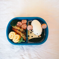 デコ弁/幼稚園弁当/お弁当記録/お弁当 ネズミ弁当🐭 これ簡単でお気に入り♡  …