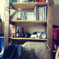 オープンシェルフ/書斎/収納/DIY/暮らし/住まい/... 一番下の段をコーヒー豆の袋で隠してみまし…