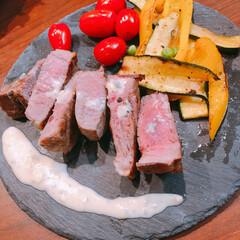 ラム肉/おうちごはん/コストコ ラム肉ステーキ、こちらはブルーチーズソー…