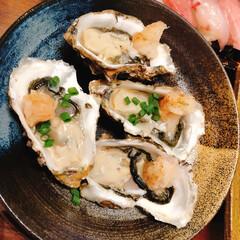 魚介類大好き/2人暮らし/生牡蠣/ポン酢/おうちごはん 新鮮な生牡蠣を、もみじおろしとポン酢でい…