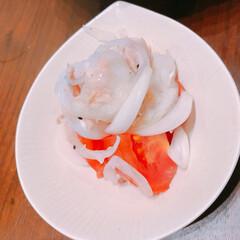 かんたんレシピ/副菜レシピ/簡単サラダ/ツナ缶/味ぽん ツナと新玉ねぎサラダ。新玉ねぎを塩揉み、…