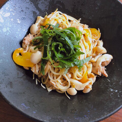 リミアな暮らし/パスタランチ/おうちごはん 和風パスタ。味付けは麺つゆとごま油だけで…