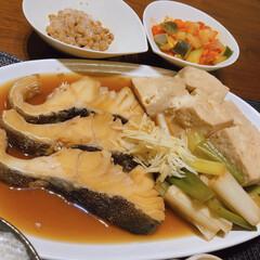 リミアな暮らし/豆腐めし/魚の煮付け 白身魚の煮物。豆腐とネギたっぷりで煮て、…