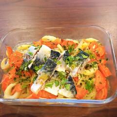 サバ/つくりおき/おうちご飯 サバのオイル漬け。セロリと人参を簡単酢と…