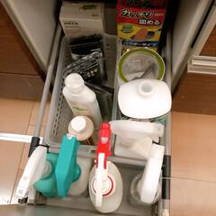 ヤマハキッチン/リミアな暮らし/収納アイデア よく使うキッチン洗剤はここにひとまとめに…
