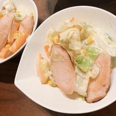 おうちごはん/リミアな暮らし/ホットサラダ 魚肉ソーセージのサラダ。茹で野菜とマヨネ…