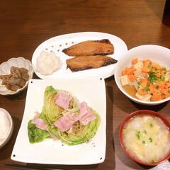 おうちごはん/映えないご飯/時短ご飯 和食ごはん。忙しい時は焼くだけ載せるだけ…
