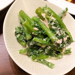 リミアな暮らし/副菜レシピ/春菊 春菊のツナマヨ和え。茹でた春菊を水切りし…