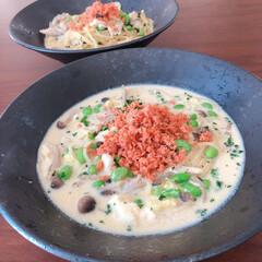 二人暮らし/鮭フレーク/スープパスタ/おうちランチ/おうちごはん 豆乳のスープパスタ。賞味期限ギリギリのさ…