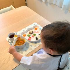 ギフトボックス ベア/tak キッズディッシュ タック(お子様プレート、皿)を使ったクチコミ「可愛いくまちゃんのお皿だと食事の時間も楽…」