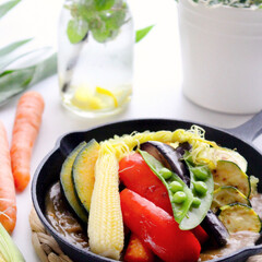 おうちごはん/夏野菜/わたしのごはん/スキレット/朝ごはん/焼きカレー/... (1枚目)