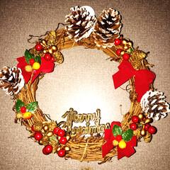 クリスマスリース/クリスマス お役御免のオーナメントはリースに利用( …