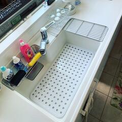 リッチェル シェリー ジャンボシンクマット ホワイト   リッチェル(その他キッチン、台所用品)を使ったクチコミ「シンクマットを新調したらジャストサイズ‼…」