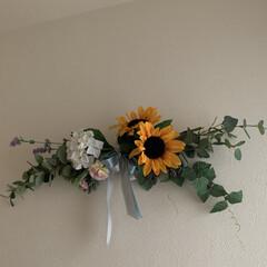玄関インテリア/季節雑貨/スワッグ 向日葵と紫陽花のスワッグ🌻  夏用スワッ…