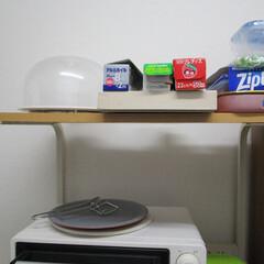 ラップ収納 ラップは毎日使うので棚の上に置いてる。 …