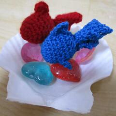 七夕飾り/織姫&彦星/天の川/季節インテリア/七夕インテリア/七夕を楽しもう/... 赤いのが織姫金魚。青いのが彦星金魚。 貝…