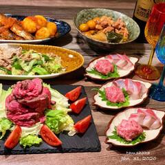 肉料理/ローストビーフ/夕飯/おうちごはん/わたしのごはん 《1/31の夕飯》  ✴︎ローストビーフ…
