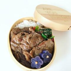 お弁当/ランチ/曲げわっぱ/ガッツリ弁当/焼肉弁当/わたしのごはん/... 焼肉 ほうれん草のナムル 紫いも