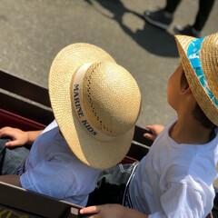 動物園/兄弟/お揃いコーデ/麦わら帽子/おでかけワンショット 動物園へ~兄弟お揃いコーデ👕 暑かったの…