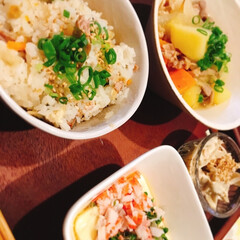 塩肉じゃが/炊き込みご飯/たまご豆腐/わたしのごはん 塩肉じゃが 炊き込みご飯 たまご豆腐です。