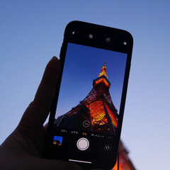 東京タワー/スマホ撮り/カメラ女子/東京/東京観光/iPhone/... 大好きな東京タワーを、スマートフォン越し…
